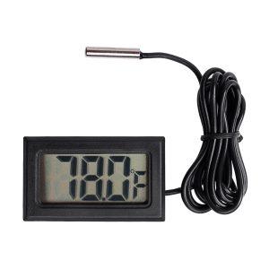 Qooltek Digital LCD Thermometer Temperature Gauge Aquarium Thermometer with Probe for Vehicle Reptile Terrarium Fish Tank Refrigerator (Fahrenheit)