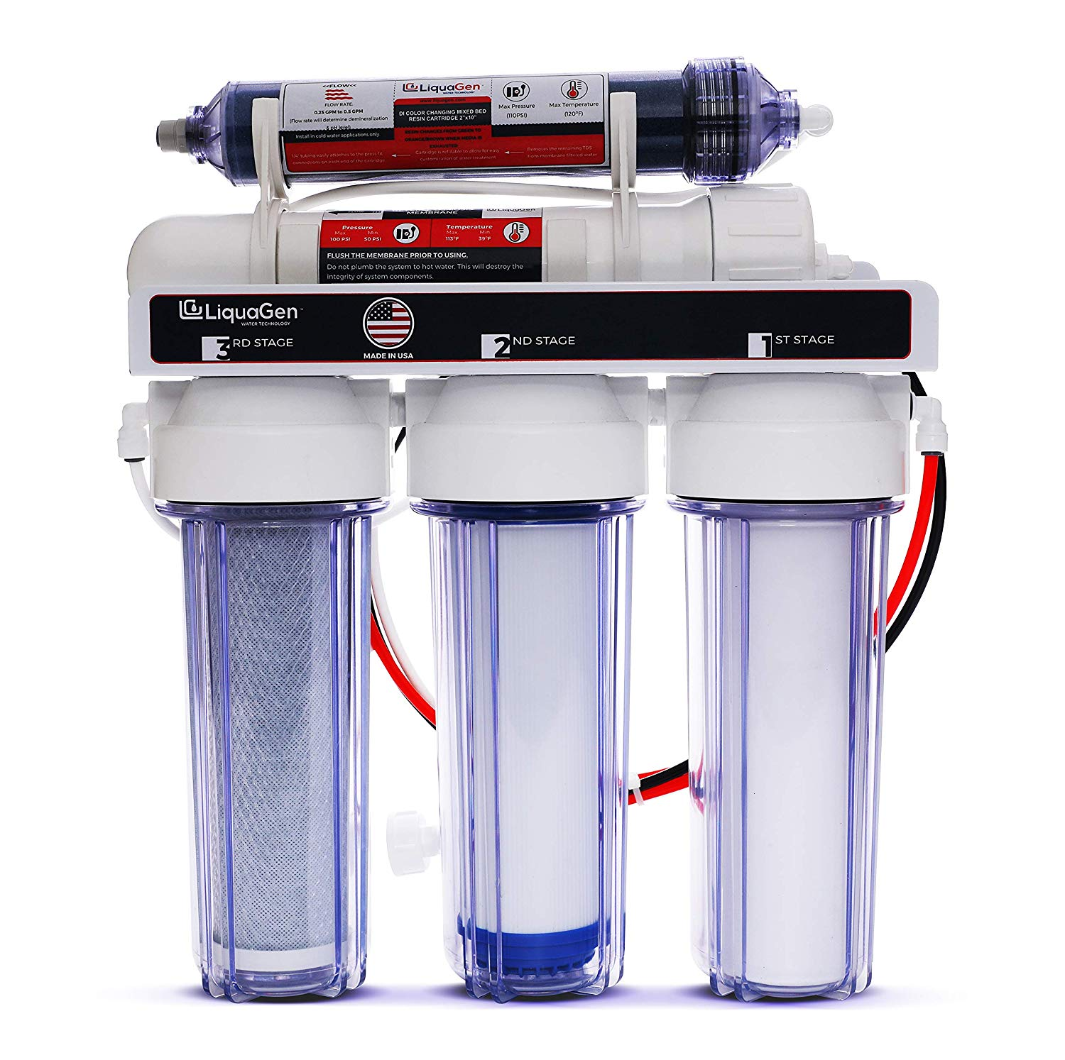 LiquaGen Complete Replacement Water Filter Kit for 4 Stage RO//DI Systems