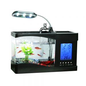 Docooler USB Desktop Mini Fish small Fry Tank Aquarium with LED Clock