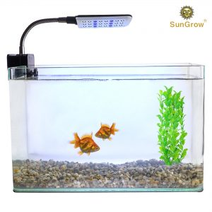 SunGrow White and Blue Colored LED Light For Aquariums and Terrariums, LED Bulbs, Switch Button To Choose Light Color, Flexible Metal Arm To Adjust Lighting, Illuminate Fish Tank with Low Radiation