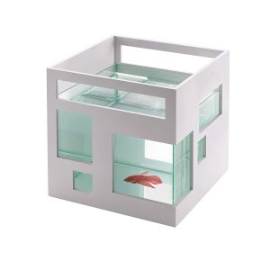 Umbra FishHotel Mini Aquarium, Great for Goldfish, Bettas, and Other Small Fish, 1.8 Gallon